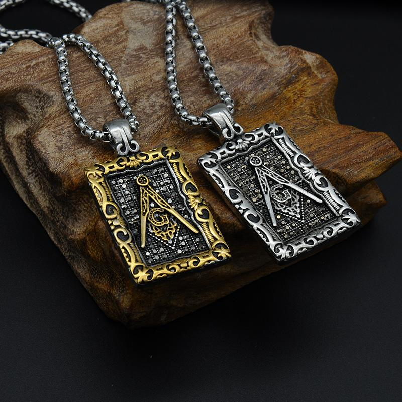 Tag Framed Motif Masonic Necklace [Gold & Silver] - Bricks Masons