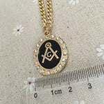 Square and Compass G Zirconia Masonic Necklace Pendant - Bricks Masons