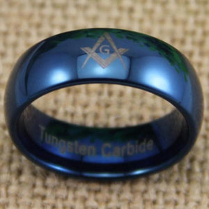 Freemason Masonic Blue Dome Tungsten Ring Free Engraving - Bricks Masons