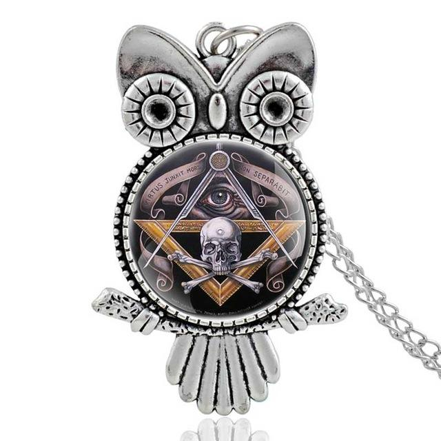 Owl Skull & Bones Masonic Necklace [Silver & Bronze] - Bricks Masons