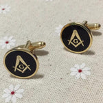 Round Golden Masonic Cufflinks - Bricks Masons