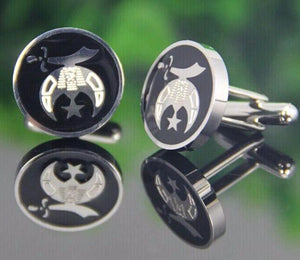 Shriner CuffLinks With Black Resin - Bricks Masons