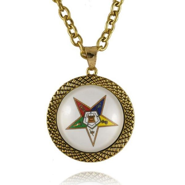 The Order of the Eastern Star OES Round Necklace - Bricks Masons