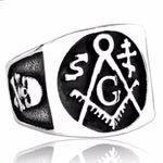 Skull & Bones Square & Compass Freemason Ring - Bricks Masons