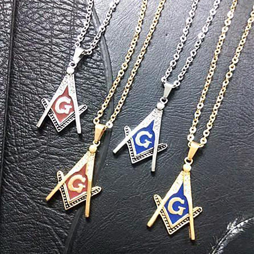 Blue & Red Enamel Masonic Necklaces - Bricks Masons