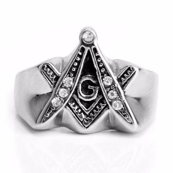 Extrude Compass & Square Freemason Ring - Bricks Masons