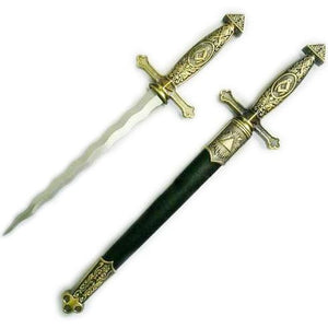 "Square Compass Brass Masonic Sword Knife Snake Flaming Blade / Black Scabbard 15.5"" - Bricks Masons"
