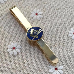 Round Blue Gold Freemason Symbol Tie Clip - Bricks Masons