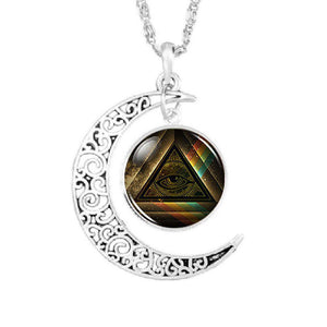 Moon All-Seeing Eye Masonic Necklace - Bricks Masons
