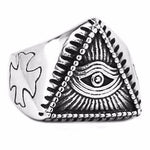 Bold Biker Eye of Providence Freemason Ring - Bricks Masons