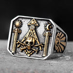 Gothic Skull and Bones Moon Sun Ring - Bricks Masons