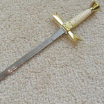 "Gold Masonic Sable Fornitura Knob Ceremony Sword Knife W/ Scabbard Stand 12"" - Bricks Masons"