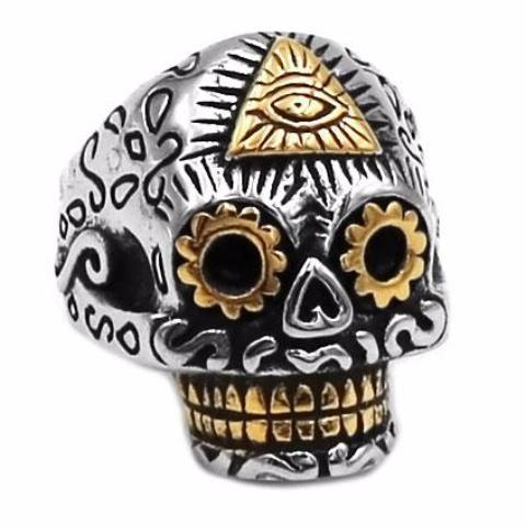Skull Eye of Providence Pyramid Masonic Ring - Bricks Masons