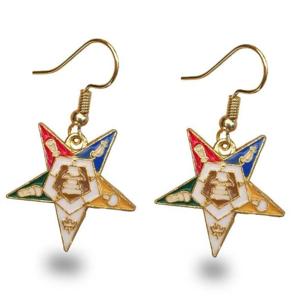 Order of the Eastern Star OES Golden Earrings - Bricks Masons