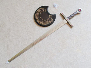 Knight Templar Red Cross Sword W/ Crescent Wall Mount 40""