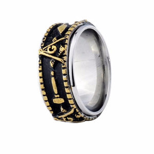 Spinner Freemason Band rings - Bricks Masons