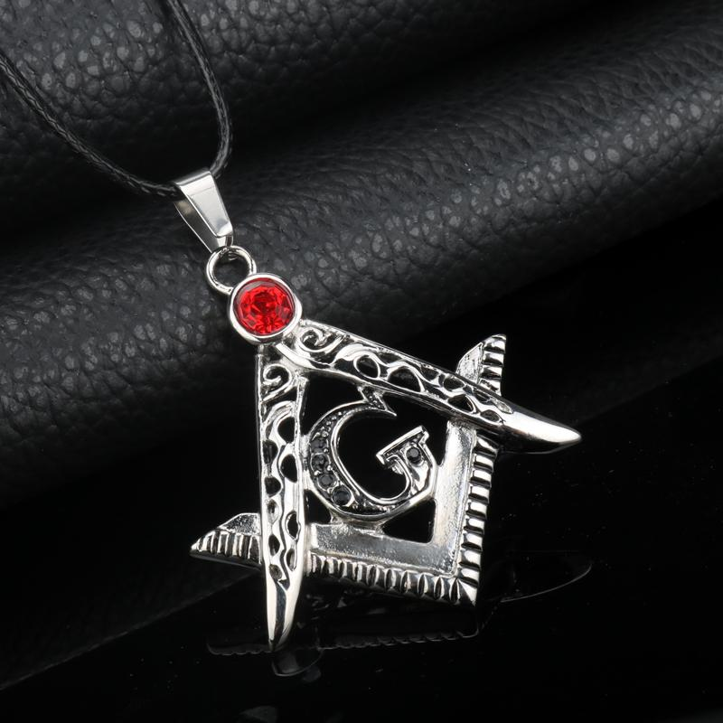 Extra Red Crystal Square & Compass G Necklace - Bricks Masons