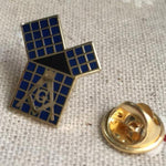 Blue Lodge Euclid's 47th Problem Pythagorean Theorem with Grid LAPEL PIN - Bricks Masons