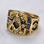 Gold Masonic Blue Crystal Ring - Bricks Masons