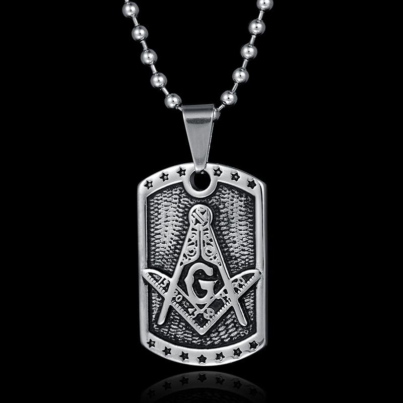 Military Tag Motif Masonic Necklace - Bricks Masons