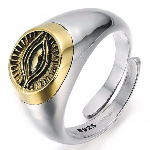 Classic Golden Eye Resizable Masonic 925 Sterling Silver Ring - Bricks Masons