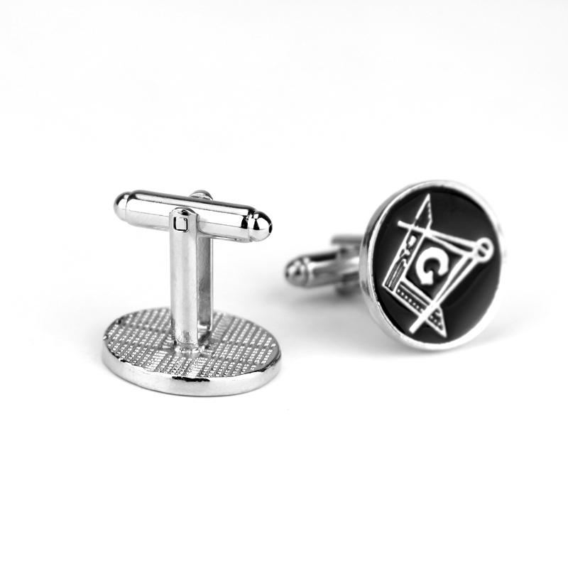 Round Compass Square G Masonic Cufflinks - Bricks Masons