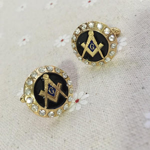 Round Rhinestone G Masonic Cufflinks - Bricks Masons
