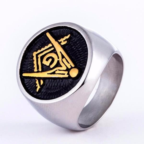 Classic Gold Silver Freemason Ring - Bricks Masons