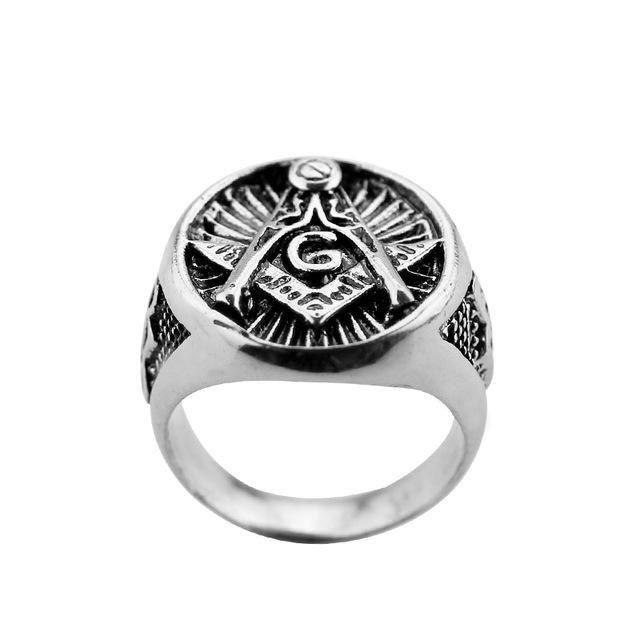 Silver Color Signet Masonic Ring - Bricks Masons