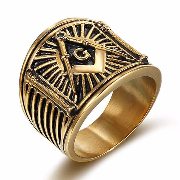 Square & Compass G Lodge Freemason Ring - Bricks Masons