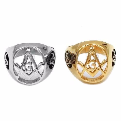 Hollowed Compass & Square Masonic Ring - Bricks Masons
