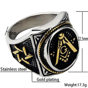Square & Compass Signet Freemason Ring [Multiple Colors] - Bricks Masons