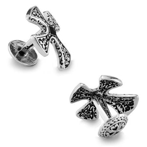 White Gold Electroplated Knights Templar Cross Cufflinks