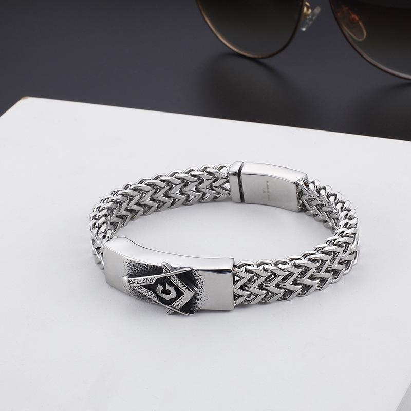 Interlaced Stainless Steel Masonic Bracelet - Bricks Masons
