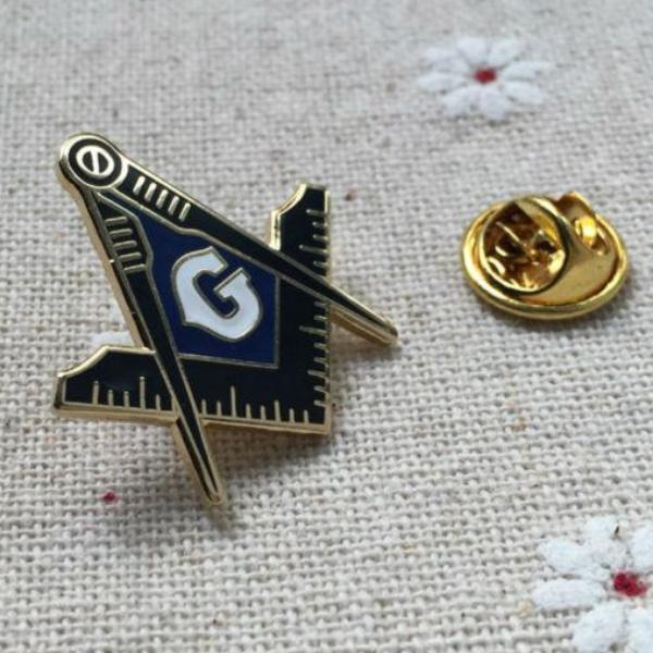 Compass and Square Blue Lodge Masonic Lapel Pin - Bricks Masons