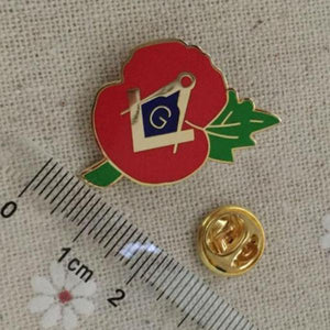 Masonic Square Compass G Crested Poppy Lapel Pin - Bricks Masons