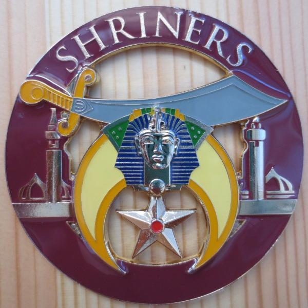 SHRINERS Minarets Dark Brown Car Emblem - Bricks Masons