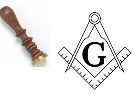 Wax Seal Masonic Symbol Square Compass G Deluxe Wood Handle - Bricks Masons