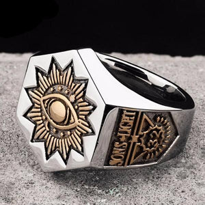 SONS LIGHT Hexagon Eye of Providence 32 Degree Ring - Bricks Masons