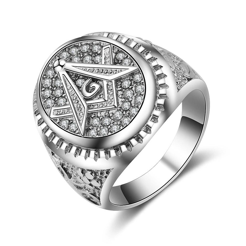 White Gold Color Masonic Ring [White & Gold] - Bricks Masons