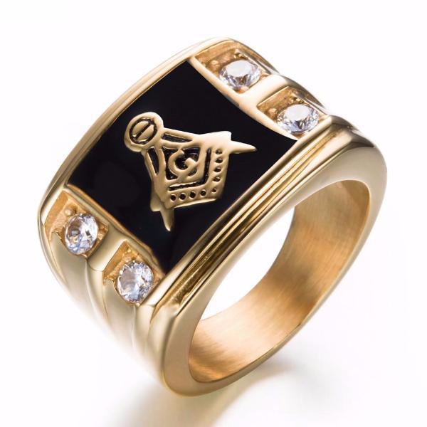 Cubic Zirconia Masonic Ring [Gold & Silver] - Bricks Masons