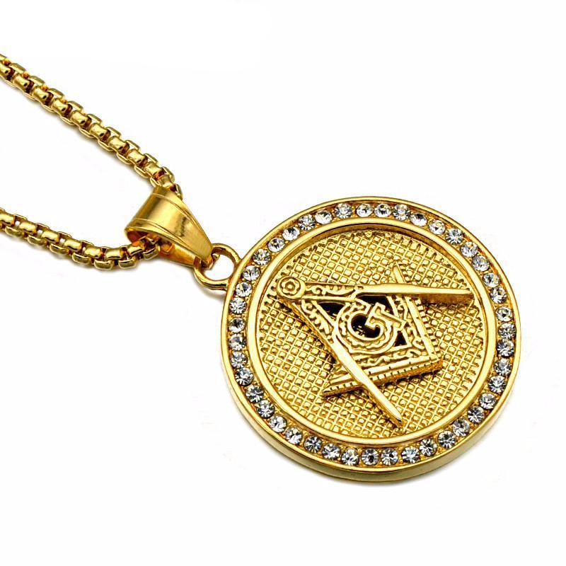 Golden Masonic Iced-Out Necklace - Bricks Masons