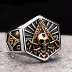 Hexagon Skull & Bones Freemasonry Ring - Bricks Masons