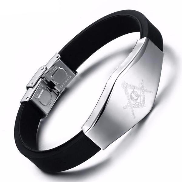 Silicone Adjustable Black Masonic Bracelet - Bricks Masons