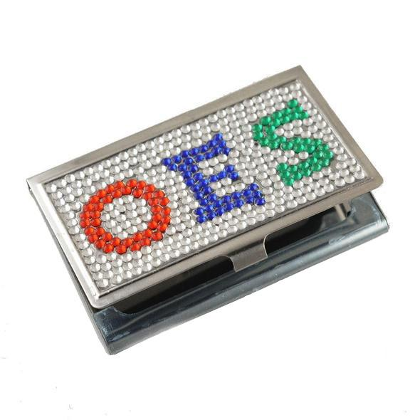 Crystal Card Case Holder Order of the Eastern Star OES - Bricks Masons