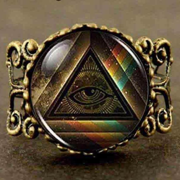 All Seeing Eye Pyramid Resizable Ring - Bricks Masons