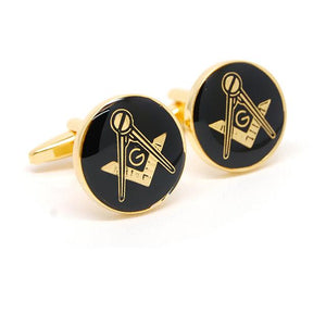 Round Freemason Symbol Cufflinks - Bricks Masons