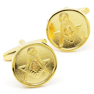 Round Mono-color Freemason Cufflinks [Silver & Gold] - Bricks Masons