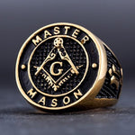 Master Mason Gold Color Ring - Bricks Masons