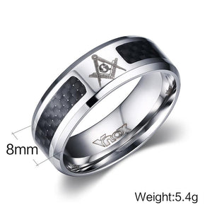 Checkered Carbon Masonic Ring [Black & Blue] - Bricks Masons